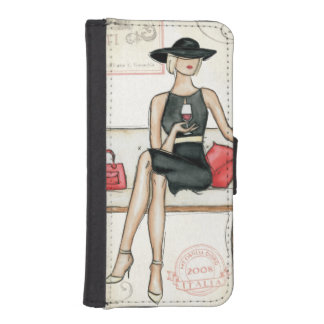 Fashionista Drinking Wine Phone Wallet Cases