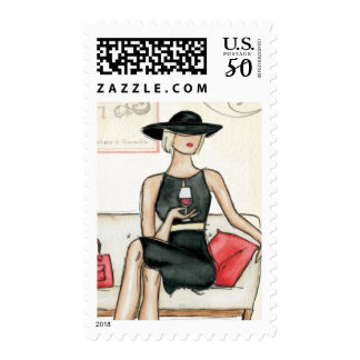 Fashionista Drinking Wine Postage