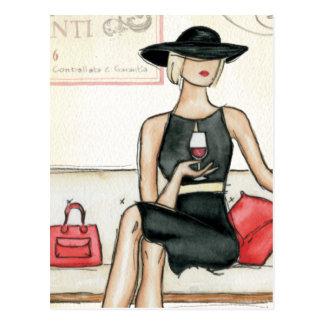 Fashionista Drinking Wine Postcard