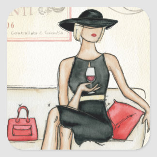 Fashionista Drinking Wine Square Sticker
