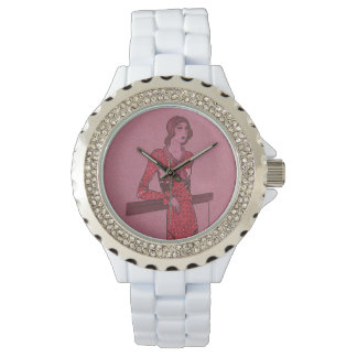 Fashionista Flapper Illustration Wrist Watch