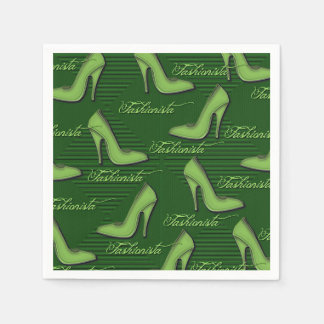Fashionista Green Shoes Pattern Napkins