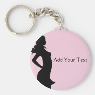 Fashionista in Pink and Grey Basic Round Button Keychain