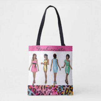 Fashionista Ladies & Leopard Pattern Print Design Tote Bag