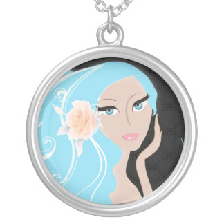 fashionista maid of honor bride bridesmaid silver plated necklace