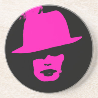 Fashionista pink black woman drink coasters