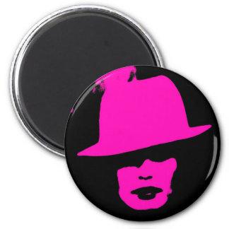 Fashionista pink black woman razberry magnet