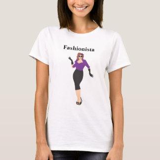 Fashionista pinup girl with purple shirt