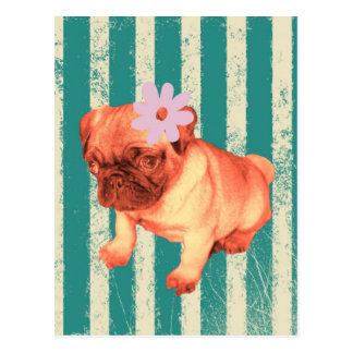 fashionista retro verde lindo del perrito del barr postales