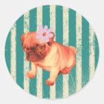 fashionista retro verde lindo del perrito del etiquetas redondas
