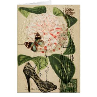 fashionista stiletto floral french botanical art card