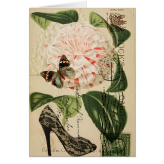 fashionista stiletto floral french botanical card