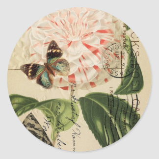 fashionista stiletto floral french botanical classic round sticker