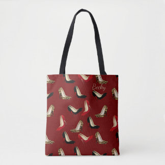 Fashionista Stiletto Heel Print Custom Tote Bag