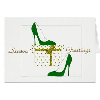 FASHIONISTAS CHRISTMAS  CARD, GREEN SHOE GREETINGS CARD