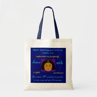 Fashions High End Daily Make-up Routine Nat. Navy Budget Tote Bag