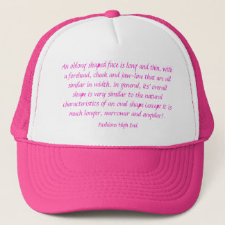 Fashions High End Oblong Shape Face Pink Trucker Hat