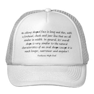 Fashions High End Oblong Shape Face White Trucker Hat