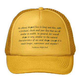 Fashions High End Oblong Shape Face Yellow Trucker Hat