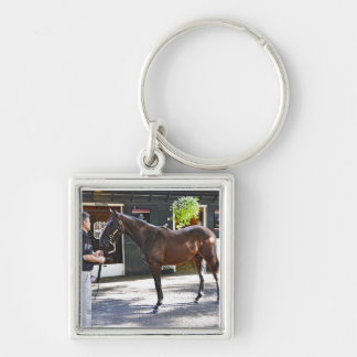 Fasig Tipton Yearling Auctions Silver-Colored Square Keychain