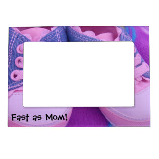 Fast as Mom! Baby Shoes Pink magnetic Photo frames