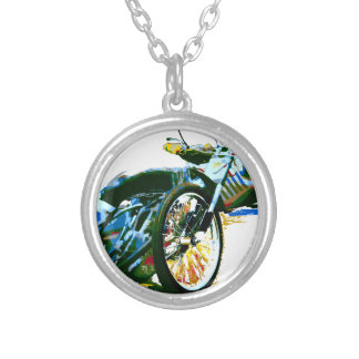 Fast Awesome Speedway Motorcycle Silver Plated Necklace