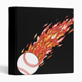 fast baseball on fire flames binders
