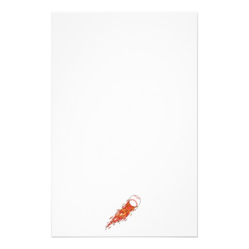 fast baseball on fire flames stationery