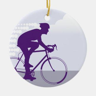 Fast Bicyclist vector Ceramic Ornament