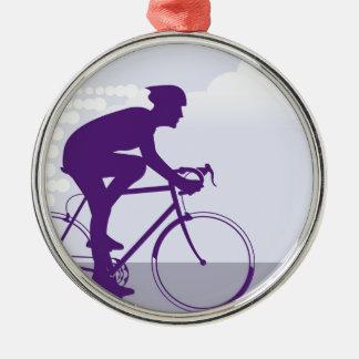 Fast Bicyclist vector Metal Ornament