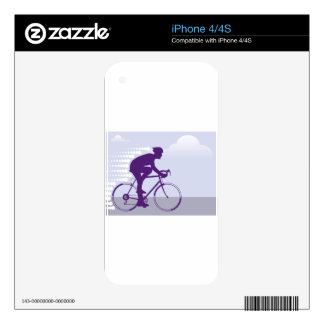 Fast Bicyclist vector Skins For iPhone 4S