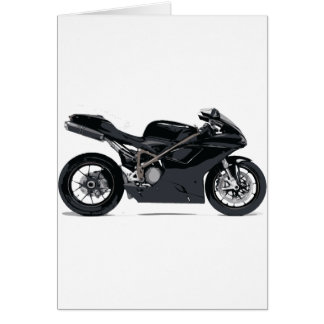 Fast Black Motorcycle Greeting Cards