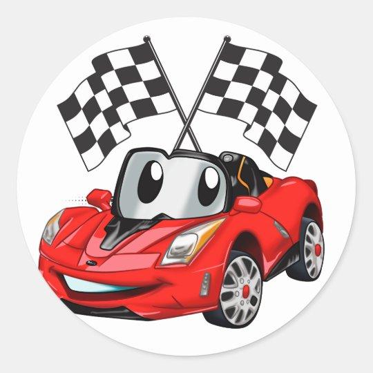 Fast Car Cartoon Red Car Cartoon Cars For Kids Classic Round Sticker