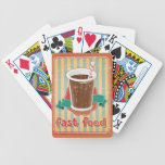 Fast food background with drink in retro style bicycle playing cards