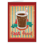 Fast food background with drink in retro style card