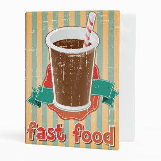 Fast food background with drink in retro style mini binder