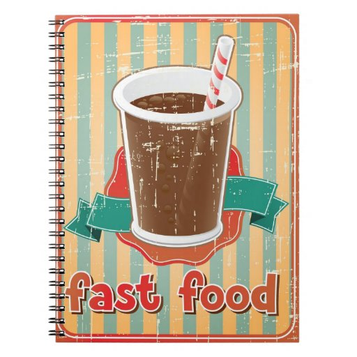 Fast food background with drink in retro style notebook