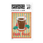 Fast food background with drink in retro style postage
