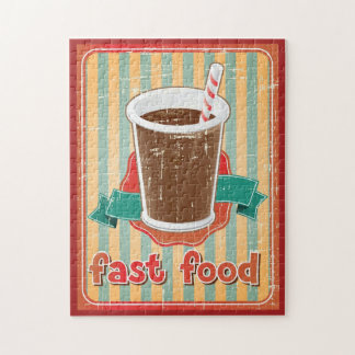 Fast food background with drink in retro style puzzles