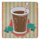 Fast food background with drink in retro style trivet