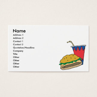 fast food burger and soft drink business card