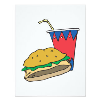 fast food burger and soft drink card
