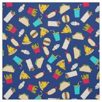 Fast Food Burgers Fries Pizza Tacos Ice Cream Blue Fabric