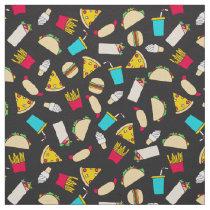 Fast Food Burgers Fries Pizza Tacos Ice Cream Fabric