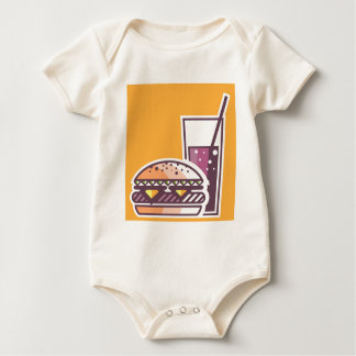 Fast Food Cheeseburger and Drink Baby Bodysuit
