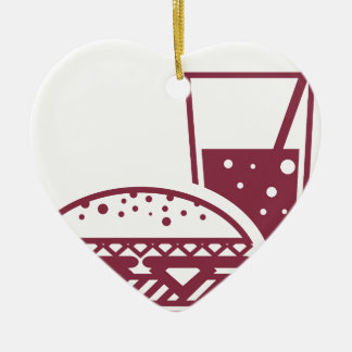 Fast Food Cheeseburger and Drink Ceramic Ornament