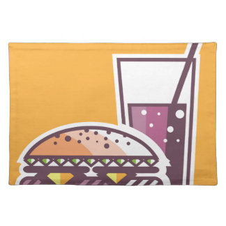Fast Food Cheeseburger and Drink Cloth Placemat