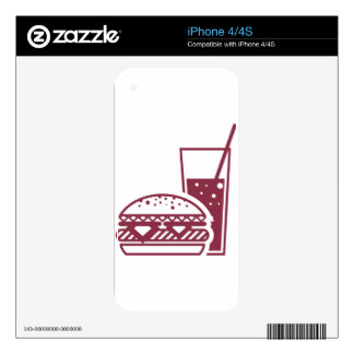 Fast Food Cheeseburger and Drink Decal For iPhone 4