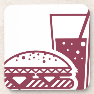 Fast Food Cheeseburger and Drink Drink Coaster