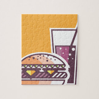 Fast Food Cheeseburger and Drink Jigsaw Puzzle